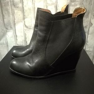 Corso Como Leather Wedge Booties